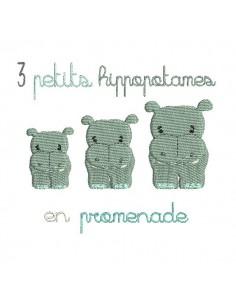 Instant download machine embroidery hippopotamus