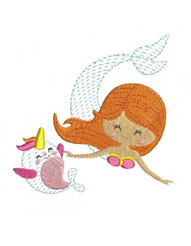 Instant download machine embroidery design mermaid girl