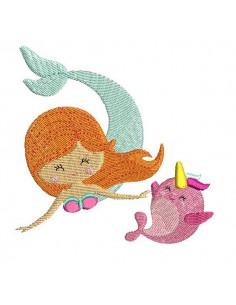 Instant download machine embroidery design mylar mermaid