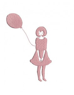 Motif de broderie fillette au ballon