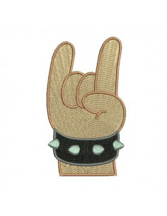 Instant download machine embroidery design hand metal rock