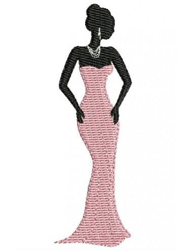 Motif de broderie silhouette femme n°2