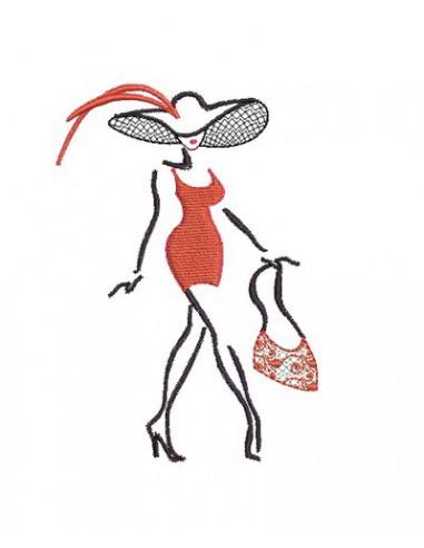 Motif de broderie silhouette femme n°3