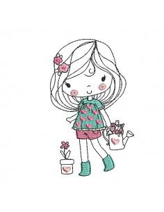 Motif de broderie machine petite fille avec des fleurs