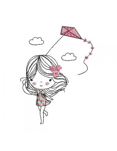 Motif de broderie machine petite fille avec un cerf volant