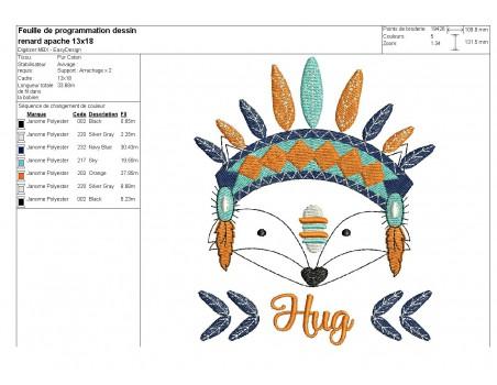 Motif de broderie machine petit renard apache