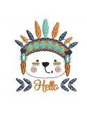 Motif de broderie machine petit ours apache