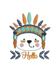 Instant download machine embroidery  apache bear