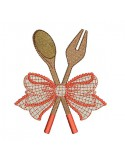 Motif de broderie machine  spatules en bois avec un noeud