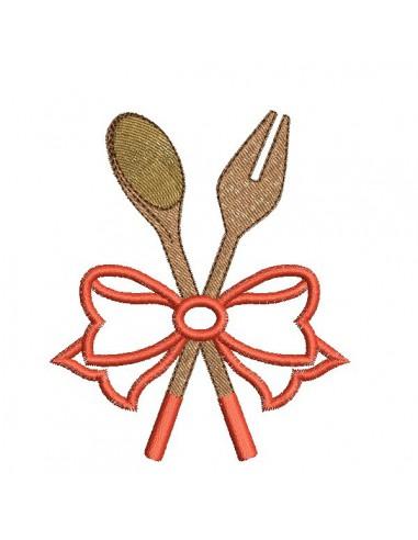 Motif de broderie machine  spatules en bois avec un noeud en appliqué