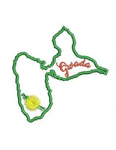 Motif de broderie machine  la Guadeloupe en appliqué