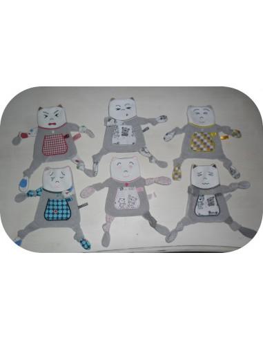 Motif de broderie machine  pack 6 doudous chats les couleurs des émotions ITH