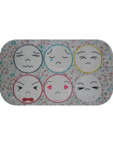 Motif de broderie machine  pack 6   couleurs des émotions