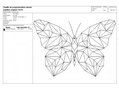 Motif de broderie machine papillon origami