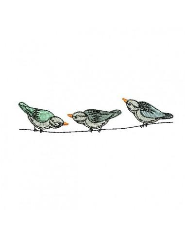 Motif de broderie machine oiseaux sur une branche