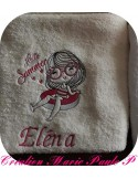 Instant download machine embroidery design little girl with a shell