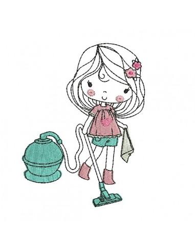 Motif de broderie machine petite fille passant l'aspirateur