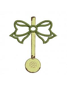 Motif de broderie machine  louche emaillée avec un noeud en appliqué