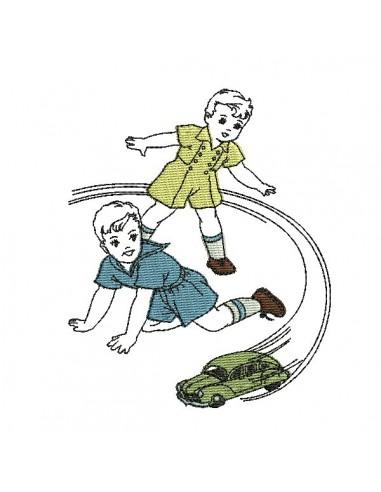 Motif de broderie machine garçons jouant avec une voiture