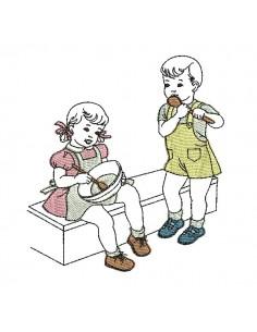 Motif de broderie machine vintage enfants faisant la cuisine