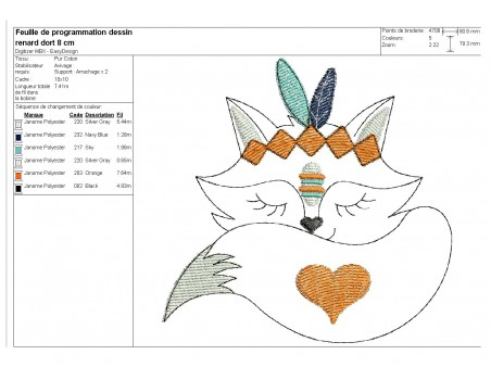Instant download machine embroidery  Indian fox