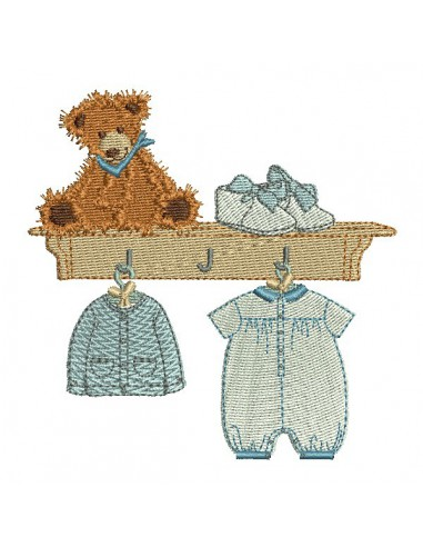 Instant download machine embroidery design clothesline boy