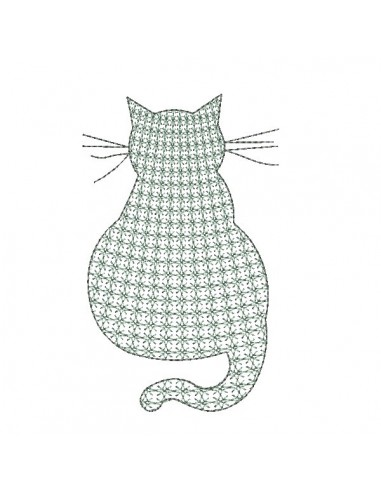 Instant download machine embroidery mylar cat