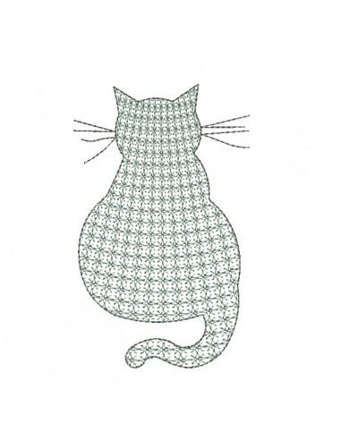 Motif de broderie machine chat de dos en mylar