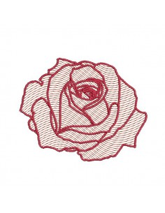 Instant download machine embroidery red rose flower