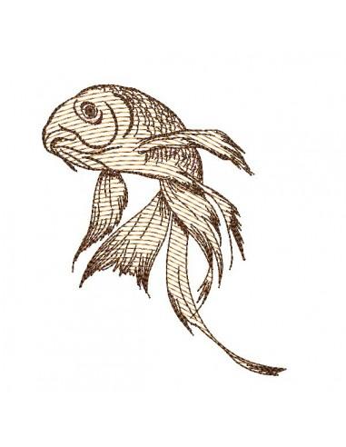 Motif de broderie machine poisson japonais en mylar