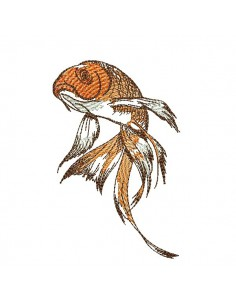Instant download machine embroidery  japanese fish