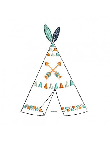 Instant download machine embroidery  indian tipi