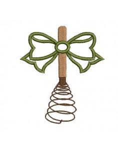 Motif de broderie machine fouet ancien  avec un noeud en appliqué