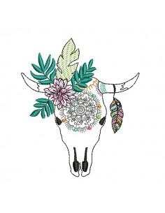 Embroidery design Dream catcher Buffalo Skull