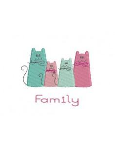 Motif de broderie la famille de chats