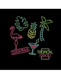 Motif de broderie machine flamant rose tropical néon