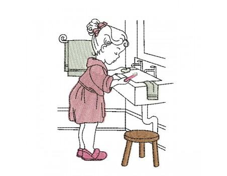 Motif de broderie machine vintage fillette salle de bain