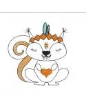 Motif de broderie machine  écureuil  indien