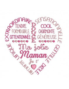 Embroidery design  pretty mom text heart