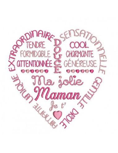 Motif de broderie   coeur texte jolie maman