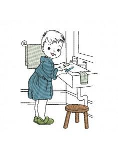 Motif de broderie machine vintage garçon salle de bain
