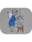 Instant download machine embroidery design vintage little girl washing her teeth