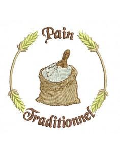 Motif de broderie machine sac de farine  pain traditionnel