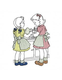 Instant download machine embroidery design vintage kids cooking