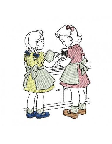 Motif de broderie machine vintage enfants faisant la vaiselle