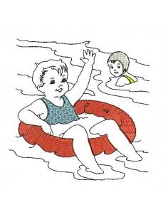 Motif de broderie machine vintage enfants à la mer