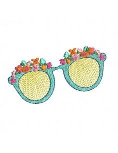 Motif de broderie machine lunettes fleurs en mylar
