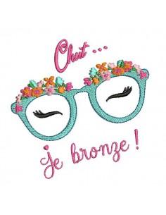 Motif de broderie machine lunettes fleurs chut je bronze
