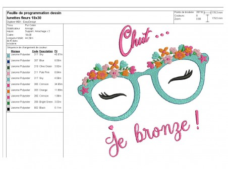 Instant download machine embroidery design mylar sunglasses