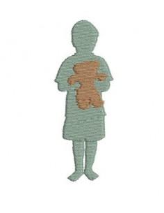Motif de broderie  garçon avec son ours
